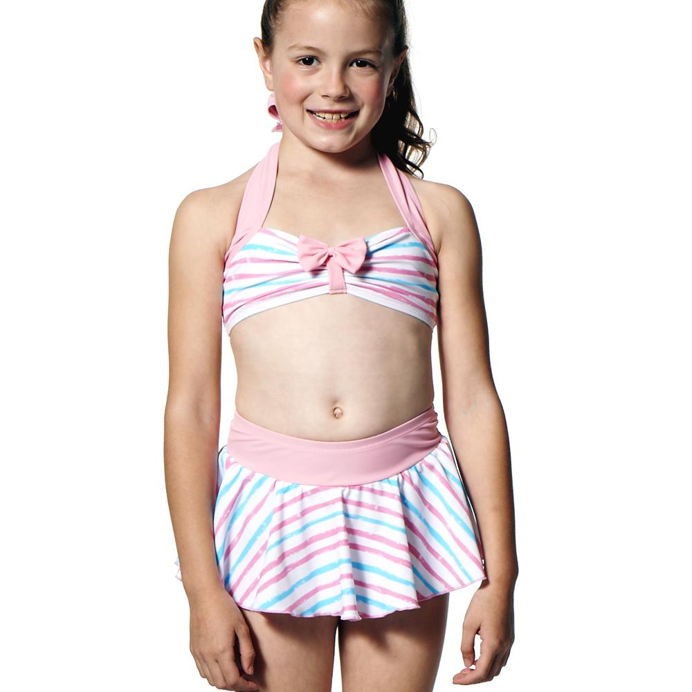 泳裝兩件式兒童粉彩紋女童泳裝聖手牌