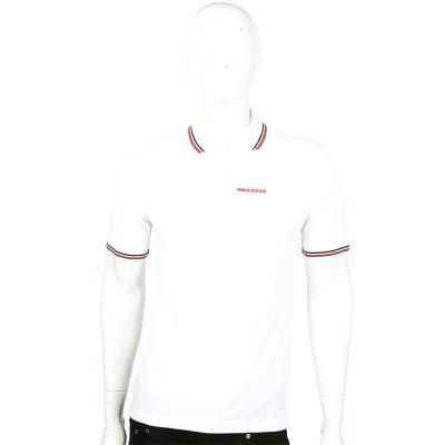 PRADA 白色滾邊設計短袖POLO衫