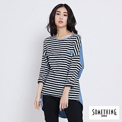 SOMETHING 拼接長版剪接T恤-女-拔淺藍