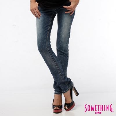 SOMETHING時間之河 拉鍊蕾絲伸縮窄直筒牛仔褲-女-拔淺藍