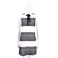 Alice + Olivia 黑x白織花蝴蝶領結設計無袖洋裝