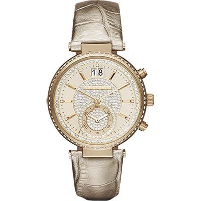 Michael Kors Sawyer 名媛晶鑽計時腕錶-金/39mm
