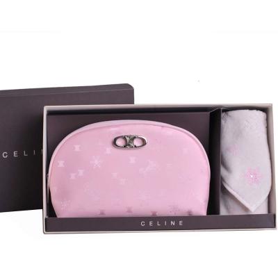 CELINE 金屬品牌LOGO幾何圖騰化妝包方巾禮盒組(粉紅/粉紅方巾)