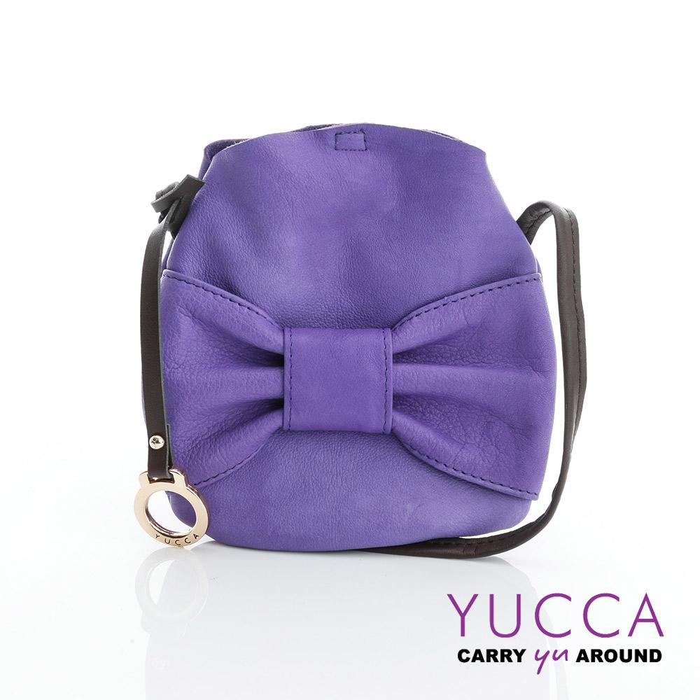 YUCCA - 甜美蝴蝶結牛皮小包 - 紫色-D013173