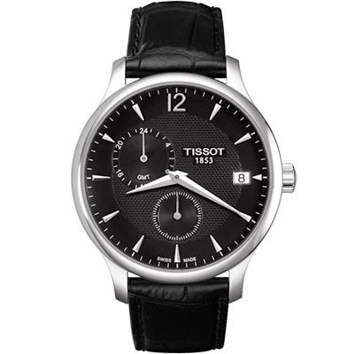 TISSOT Tradition GMT 二地時區經典腕錶-黑/42mm T0636391605700