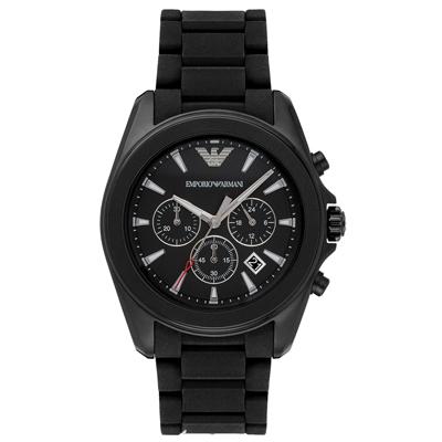 EMPORIO ARMANI  奢華優雅三眼計時錶-黑鋼帶/ 45 mm