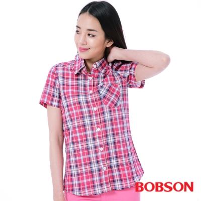 BOBSON  女款桃紅藍格子襯衫