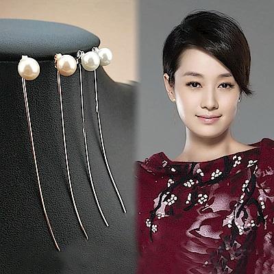 梨花HaNA 很受歡迎明星款簡單珍珠面貌直線耳環