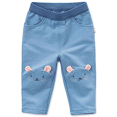 Dave Bella 牛仔藍膝蓋可愛老鼠臉鬆緊帶長褲