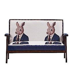 AT HOME-時尚設計鉚釘兔子先生木扶手雙人沙發(112*63*75cm)