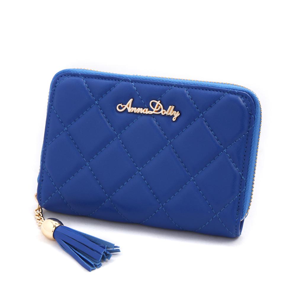 ANNA DOLLY  浪漫流蘇Exquisite羊皮菱格中夾(風格藍)