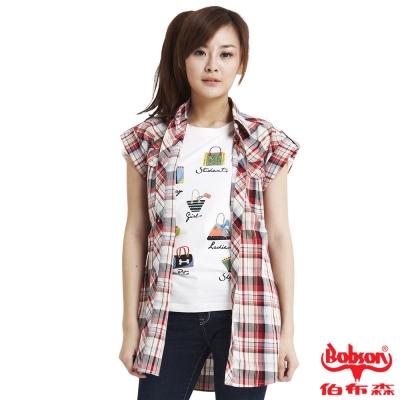 BOBSON 女款格紋長版短袖襯衫 紅13