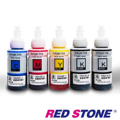 RED STONE for EPSON T664100~T664400相容墨水(二黑三彩)
