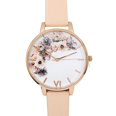 Olivia Burton英倫復古手錶 水彩印花 裸粉真皮錶帶玫瑰金錶框38mm