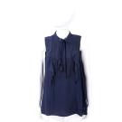 Michael Kors 深藍色織花荷葉穿繩領結無袖雪紡上衣