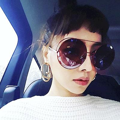 FENDI太陽眼鏡-時尚經典雙F圓框款-紅-FS0