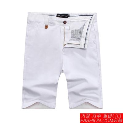 FASHION館 韓系紅藍白布邊素色休閒褲 合身