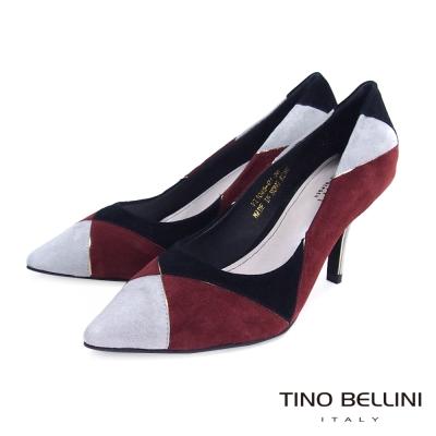 Tino-Bellini-幾何藝術色塊拼接跟鞋-黑紅