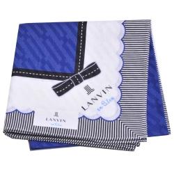 LANVIN en bleu 可愛蝴蝶結浮水紋品牌字母LOGO帕領巾(寶藍/白)