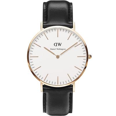DW Daniel Wellington 經典真皮手錶-白X黑/40mm