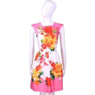 BLUGIRL 白x粉色花卉圖印包袖洋裝