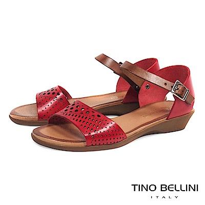 Tino Bellini西班牙進口典雅沖孔小坡跟涼鞋_ 紅
