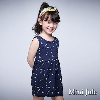 Mini Jule 童裝-洋裝 框線星星後V領蕾絲綁帶洋裝(飛機)