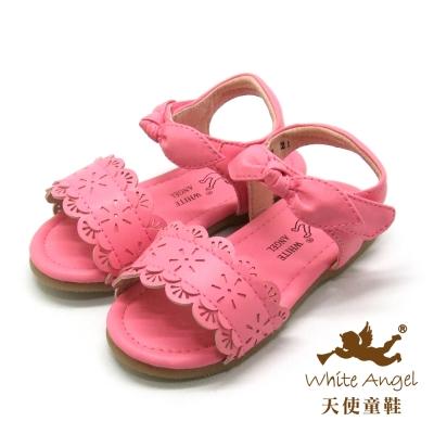 天使童鞋-F5042 俏麗蕾絲雕花涼鞋 (小童)-浪漫粉