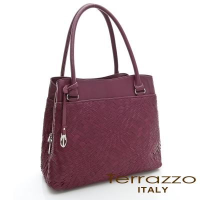 義大利Terrazzo - 全羊皮手工編織OL三隔層TOTE包-紫紅色23G4545B