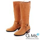 G.Ms. 西部魅力-T字馬蹄釦牛皮牛仔長靴- 百搭駝