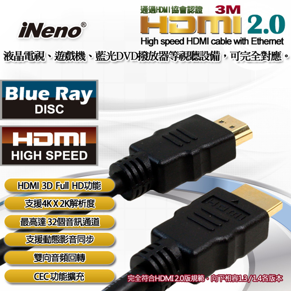 【iNeno】HDMI High Speed 超高畫質圓形傳輸線 2.0版-3M