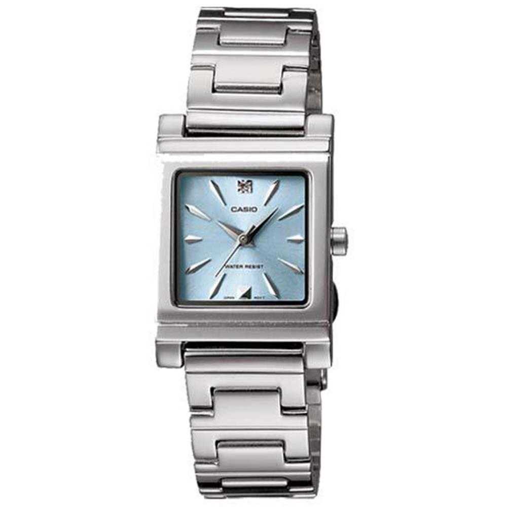 CASIO 知性方采氣質型女錶腕(LTP-1237D-2A2)-粉藍