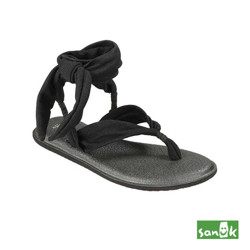 SANUK 羅馬瑜珈墊綁帶人字涼鞋-女款(黑色)