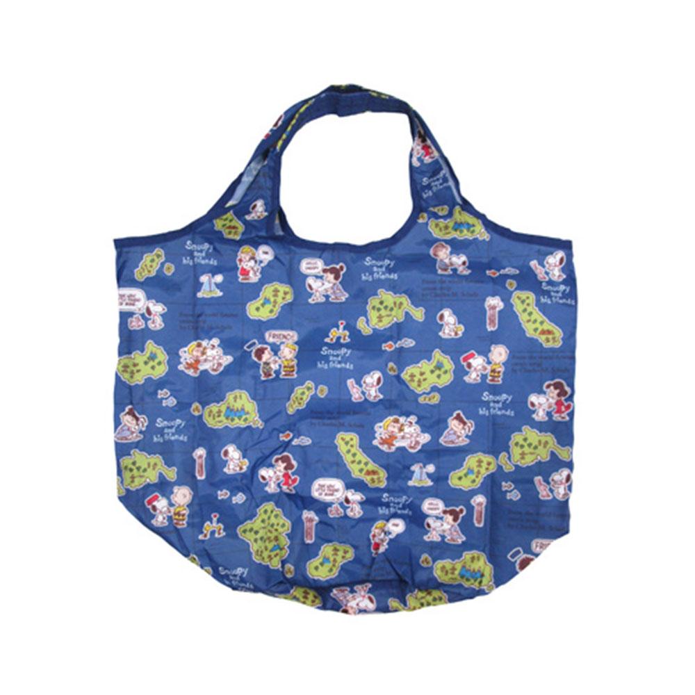 Sanrio SNOOPY可折疊好攜帶環保購物袋(好朋友藍)