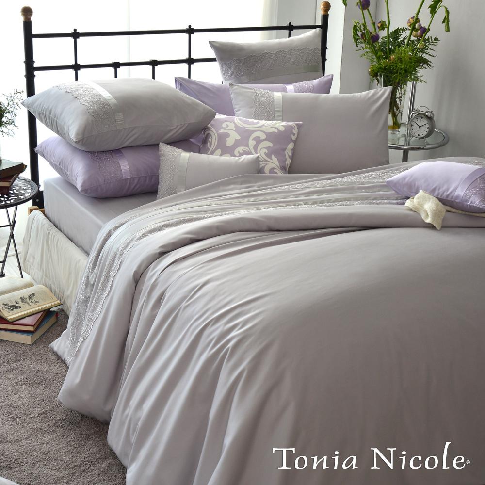 Tonia Nicole東妮寢飾 維多利亞80支蕾絲純色長纖細棉被套床包組(極簡灰雙人)