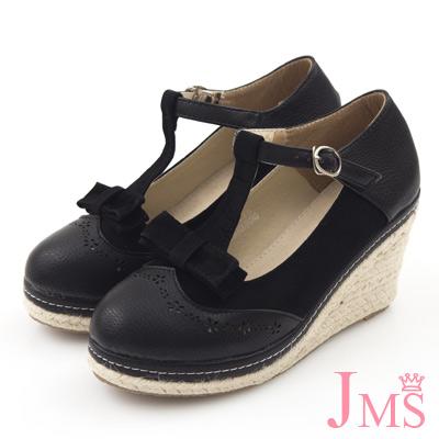 JMS-異材質拼接蝴蝶結T字楔型娃娃鞋-黑色