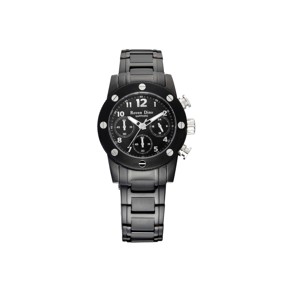 Roven Dino 童心未泯三眼計時腕錶-黑/37mm