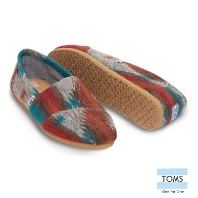 TOMS 毛呢針織懶人鞋-男款(紅)