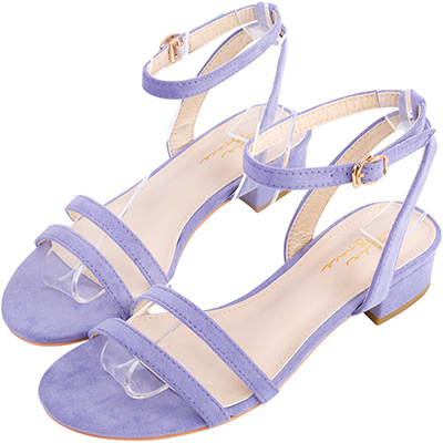 AIR SPACE 雙細帶繞踝金屬扣環低跟涼鞋(淺紫)