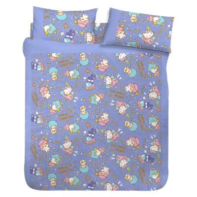 享夢城堡 三麗鷗 55週年太空風系列-雙人床包組(藍紫)