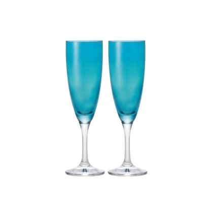 【ADERIA】日本進口香檳酒專用玻璃對杯(藍)