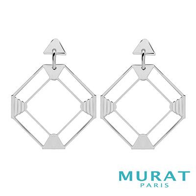 MURAT Paris米哈巴黎 摩登鏤空菱形垂吊耳環