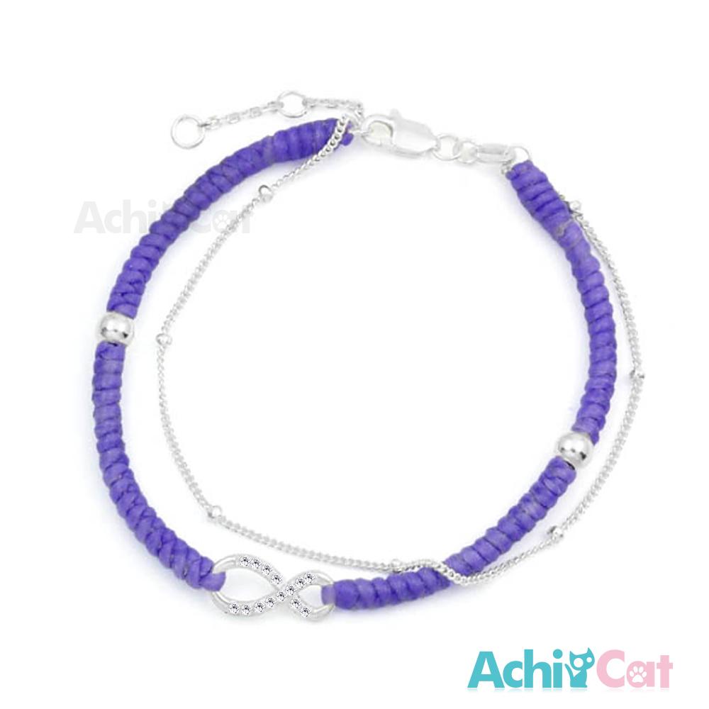 AchiCat 蠶絲蠟繩手鍊 925純銀 無限幸運 無限符號