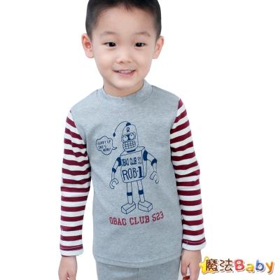 魔法Baby~台灣製造半高領條紋機器人長袖圖T~k30174