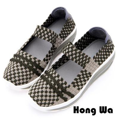 Hong Wa - 運動休閒透氣菱格紋編織布鞋 - 綠