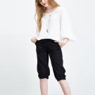 Hana+花木馬 簡約抽皺合身百搭造型馬褲-黑(2色)