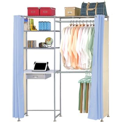 巴塞隆納-E60型防塵伸縮電腦桌衣櫥架
