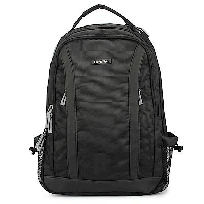 Calvin Klein 經典尼龍皮革飾邊後背包-黑色