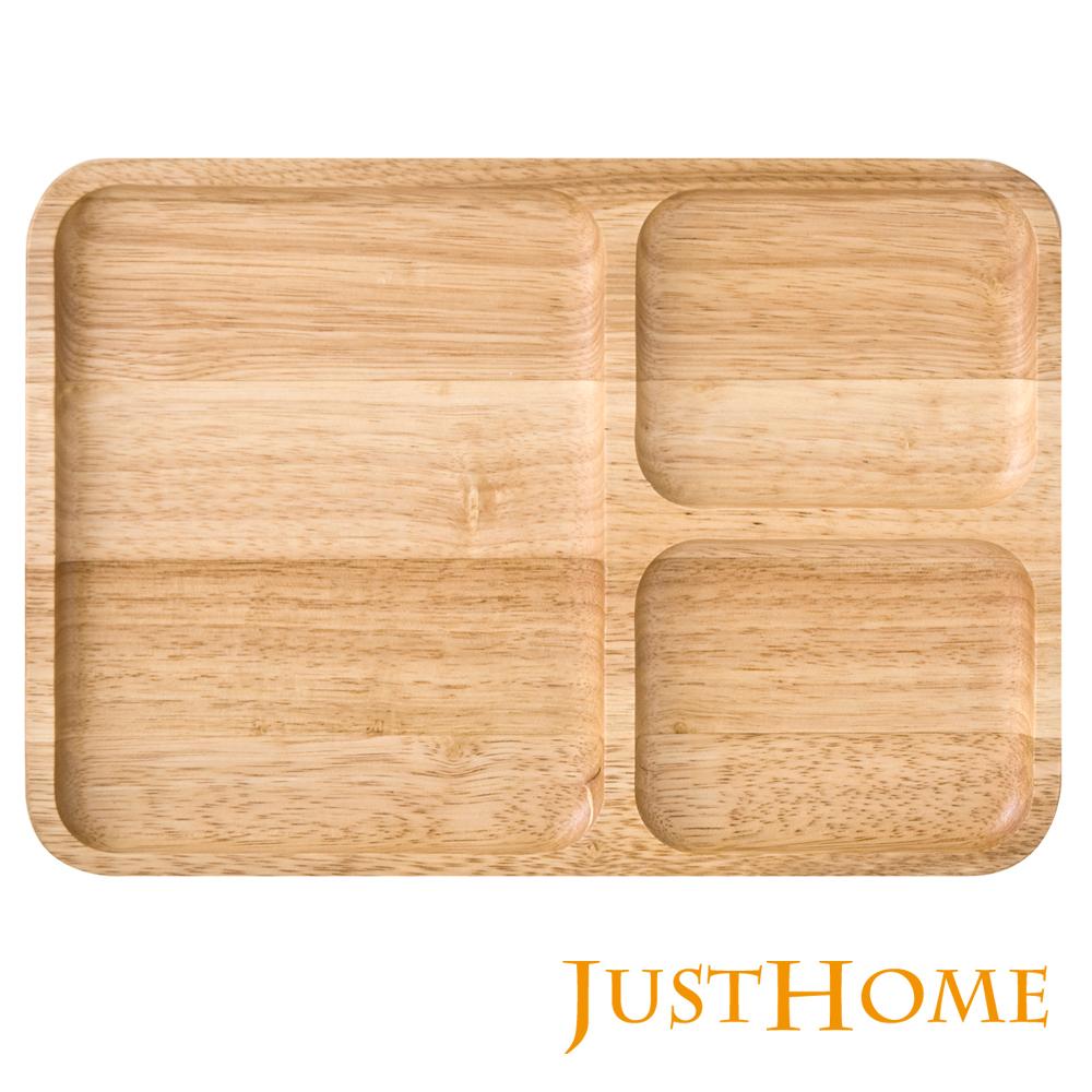 Just Home橡膠原木方形三隔餐盤(台灣製)