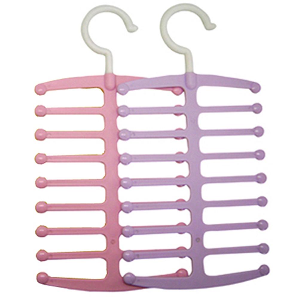 18排魔術排骨領帶絲巾項鍊吊掛衣架超值2入(顏色隨機)